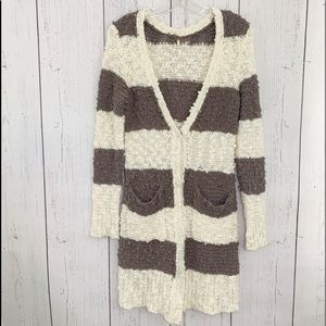 Free People brown and cream v neck long cardigan